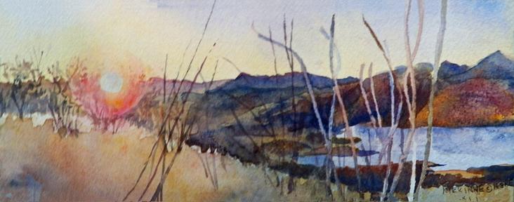 Sunset Moonlight Hike, watercolor, 3x9, ©2011 Nikki Kinne
